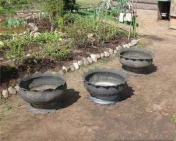 Оригинальные клумбы своими руками из колес